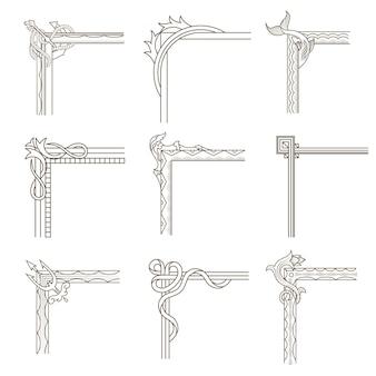 Collectie designhoeken voor oud frame. retro designelement voor uitnodigingen