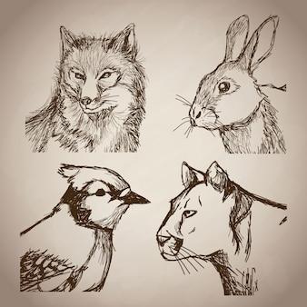 Collectie dieren doodle vintage