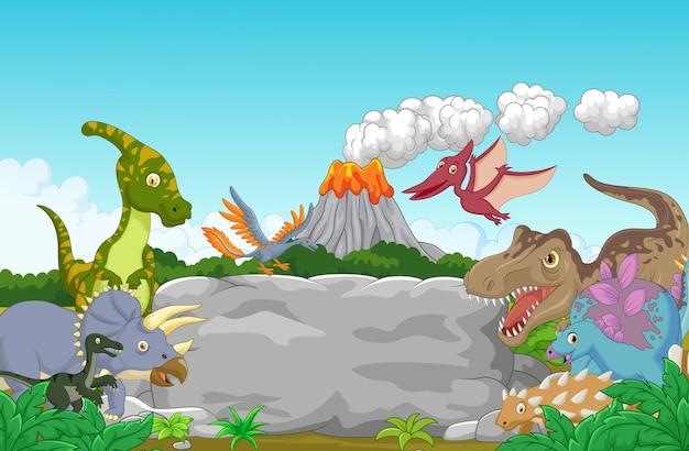 Collectie dinosaurus met holbewoner zwaaien