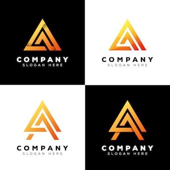 Collectie driehoek letter a logo, moderne eerste letter logo ontwerp premium