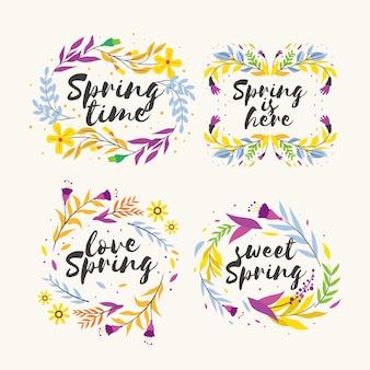 Collectie etiketten met lente thematisch