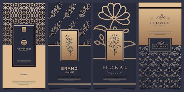 Collectie etiketten verpakking sjabloonontwerp. luxe producten voor parfum, zeep, wijn, lotion. Premium Vector