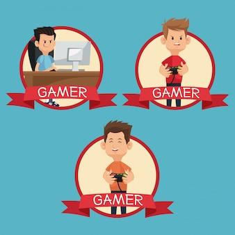 Collectie gamers apparaten spelen banner blauwe achtergrond