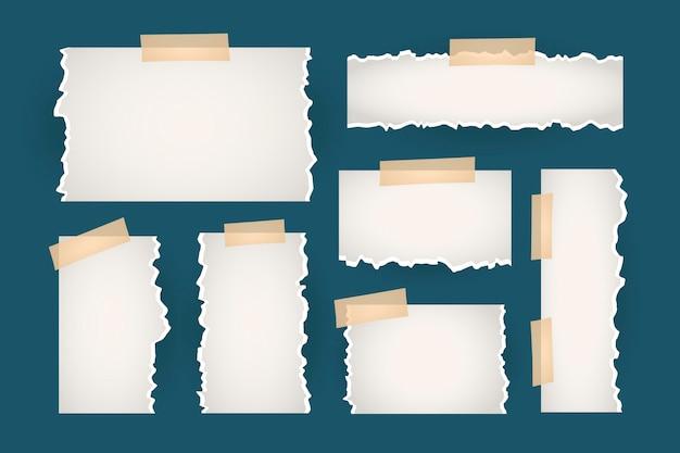 Collectie gescheurd papier met plakband