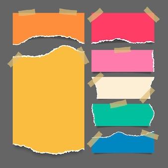 Collectie gescheurd papier met tape-ontwerp