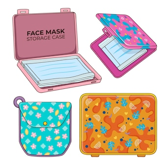 Collectie gezichtsmasker opbergdoos