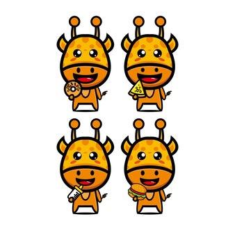 Collectie giraffe sets met voedsel vector illustratie vlakke stijl stripfiguur mascotte