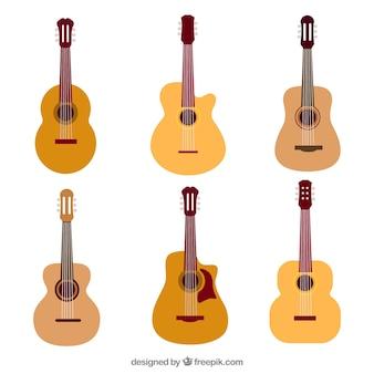 Collectie gitaren in platte ontwerp