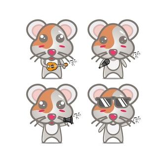 Collectie hamster sets met muziekinstrumenten vector illustratie vlakke stijl stripfiguur