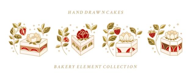 Collectie hand getrokken cake, gebak, bakkerij logo-elementen met aardbeien