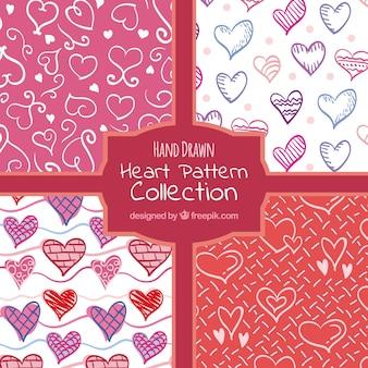 Collectie hand getrokken hartenpatronen