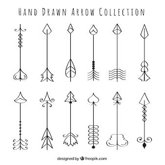 Collectie hand getrokken pijlen