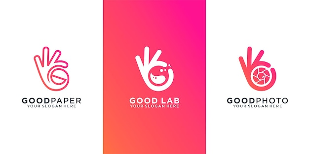 Collectie hand goed logo icon set