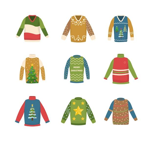 Collectie handgemaakte kersttrui. leuk naadloos patroon met lelijke kerstmissweaters.