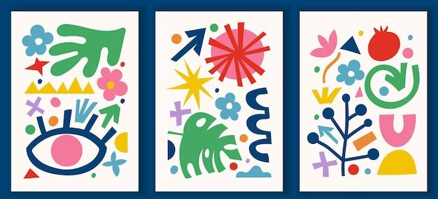 Collectie hedendaagse kunstposters in levendige kleuren. abstracte trendy geometrische elementen en organische en papier gesneden vormen, doodle objecten. geweldig ontwerp voor sociale media, ansichtkaarten, afdrukken.