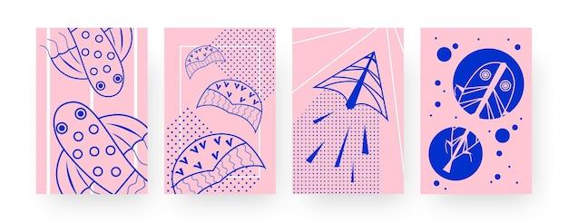 Collectie hedendaagse kunstposters met vliegers in de vorm van een vis. vliegend speelgoed voor kinderillustraties in creatieve stijl. outdoor activiteit concept voor ontwerpen, sociale media,