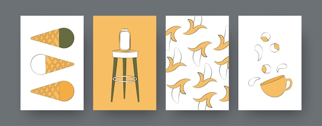 Collectie hedendaagse posters met bananen en ijs. koffie of thee, donuts, ijs cartoon illustraties. straatvoedsel, cateringconcept voor ontwerpen, sociale media,