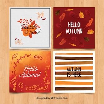 Collectie herfst kaarten aquarel stijl