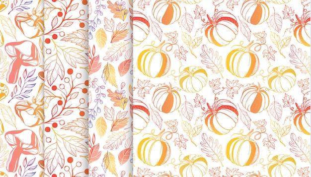 Collectie herfst patronen met bladeren, berriess, pompoenen, paddestoelen in herfstkleuren.