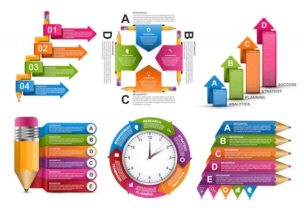 Collectie infographics sjabloon.