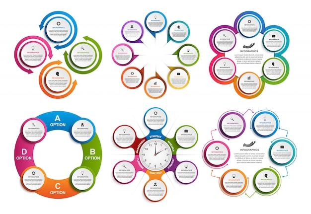 Collectie infographics voor zakelijke presentaties.