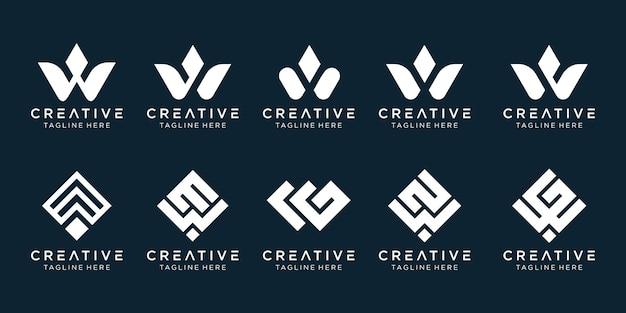 Collectie initialen w logo sjabloon. Premium Vector