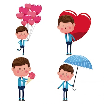 Collectie jongen liefde gelukkig