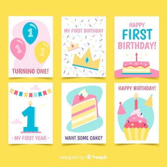 Collectie kaarten voor eerste verjaardag
