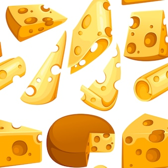 Collectie kaas plakjes driehoekig stuk kaas zuivelproduct naadloos