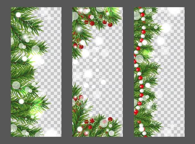 Collectie kerst verticale banner met rand of slinger van kerstboomtakken, hulstbessen en kralen