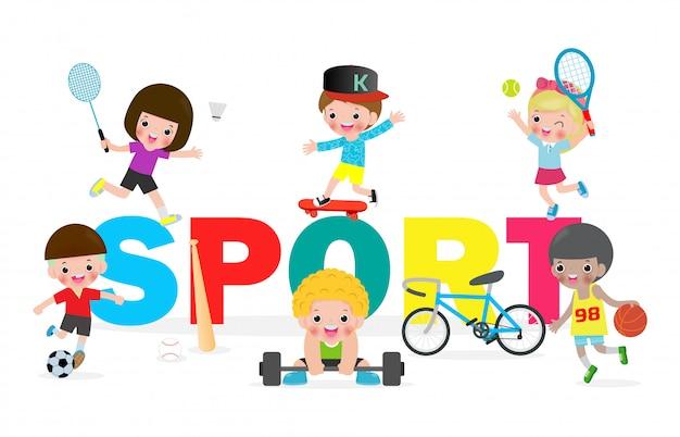 Collectie kinderen en sport, kind spelen verschillende sporten