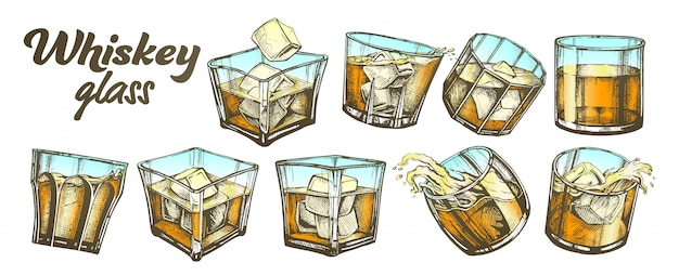 Collectie klassiek irish whisky-glas