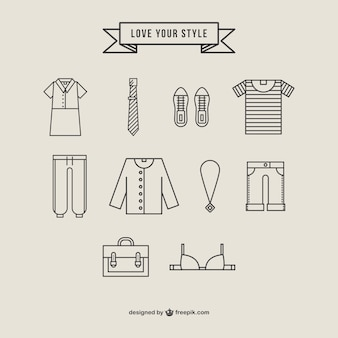 Collectie kleding iconen