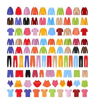 Collectie kleurrijke herenkleding