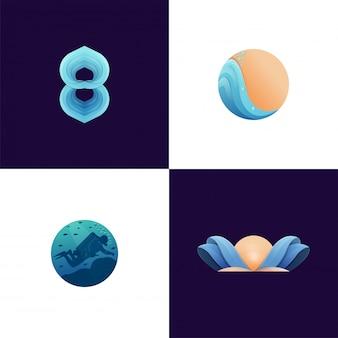 Collectie kleurrijke moderne strandactiviteit logo afbeelding klaar voor gebruik