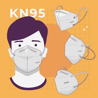 Collectie kn95 gezichtsmasker in verschillende perspectieven