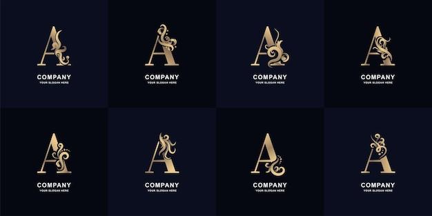 Collectie letter a-logo met luxe ornamentontwerp