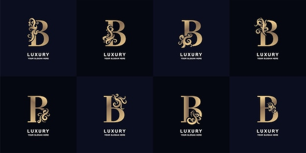 Collectie letter b-logo met luxe ornamentontwerp