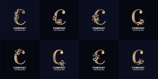 Collectie letter c-logo met luxe ornamentontwerp