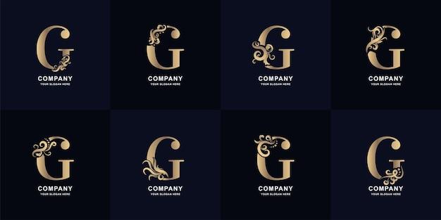 Collectie letter g-logo met luxe ornamentontwerp