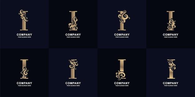 Collectie letter i-logo met luxe ornamentontwerp