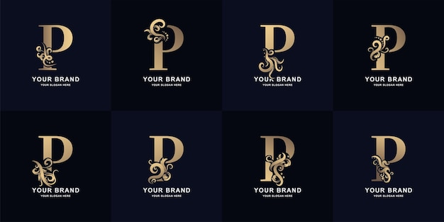 Collectie letter p-logo met luxe ornamentontwerp