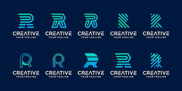 Collectie letter r rr logo icon set desig voor zaken van mode sport automotive