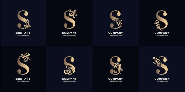 Collectie letter s-logo met luxe ornamentontwerp