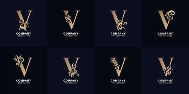 Collectie letter v-logo met luxe ornamentontwerp