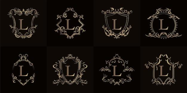 Collectie logo initiaal l met luxe ornament of bloemenlijst