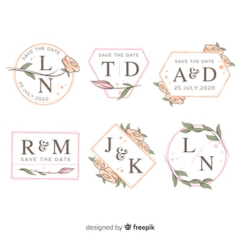 Collectie logo's van het monogram bruiloft