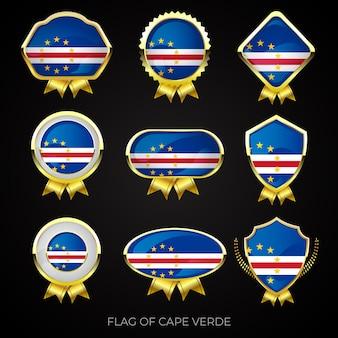 Collectie luxe gouden vlag badges van kaapverdië