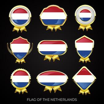 Collectie luxe gouden vlag insignes van nederland