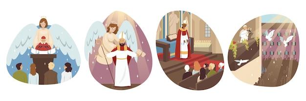 Collectie mannen katholieke orthodoxe priesters paus